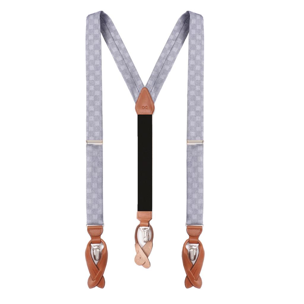 Checkered Silk Suspenders - Full View