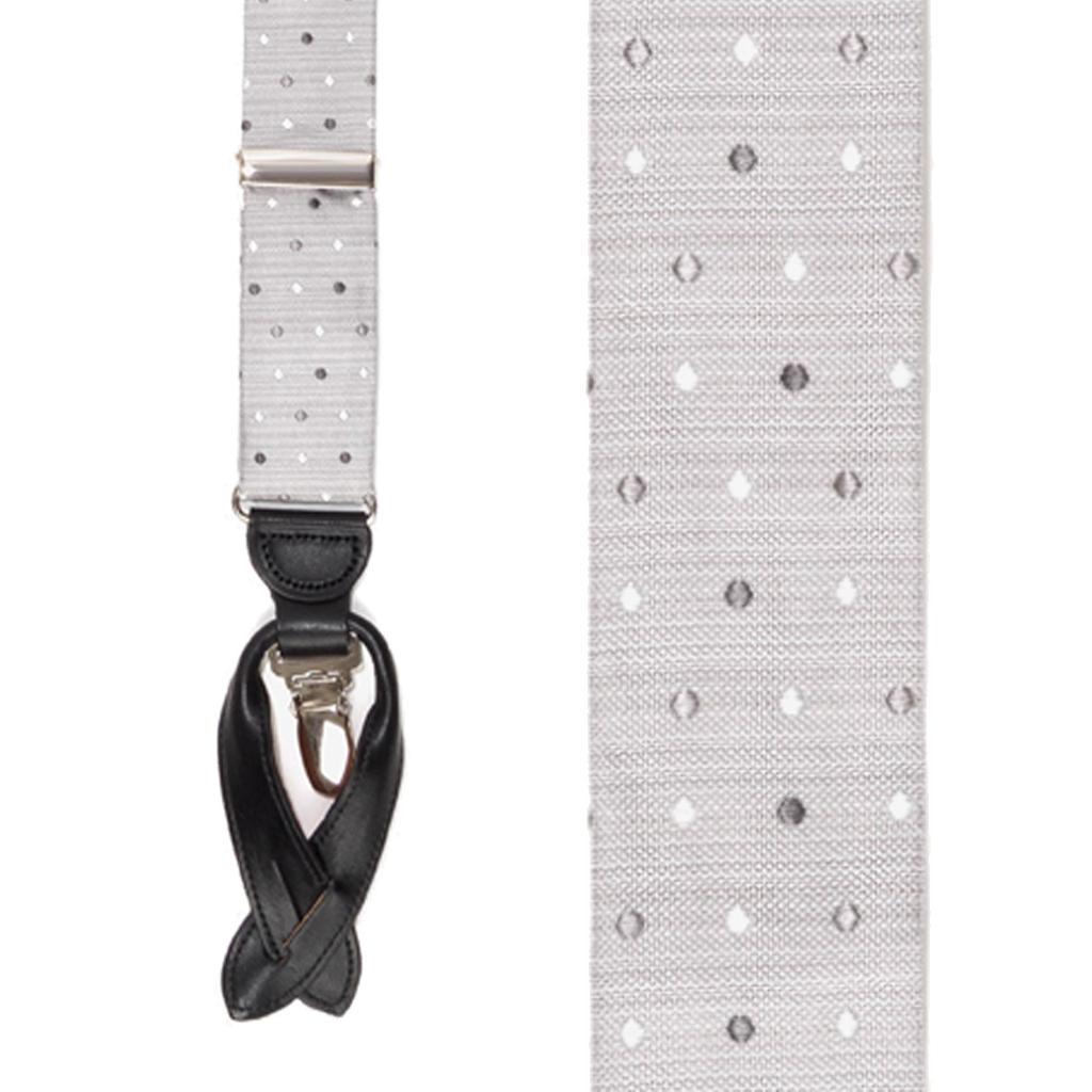 Silk Polka Dot Convertible Suspenders in Grey - Front View
