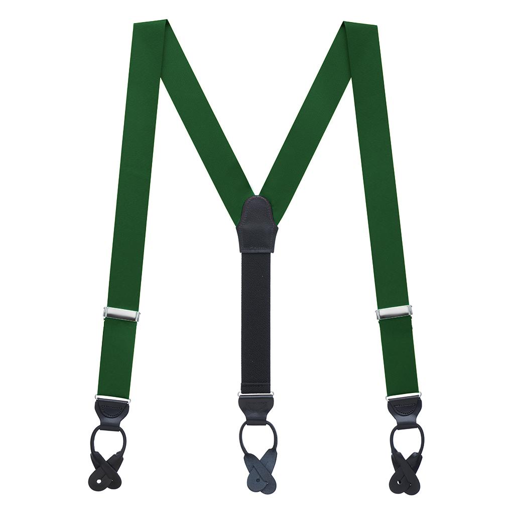 Grosgrain Suspenders in Forest Green - Full View