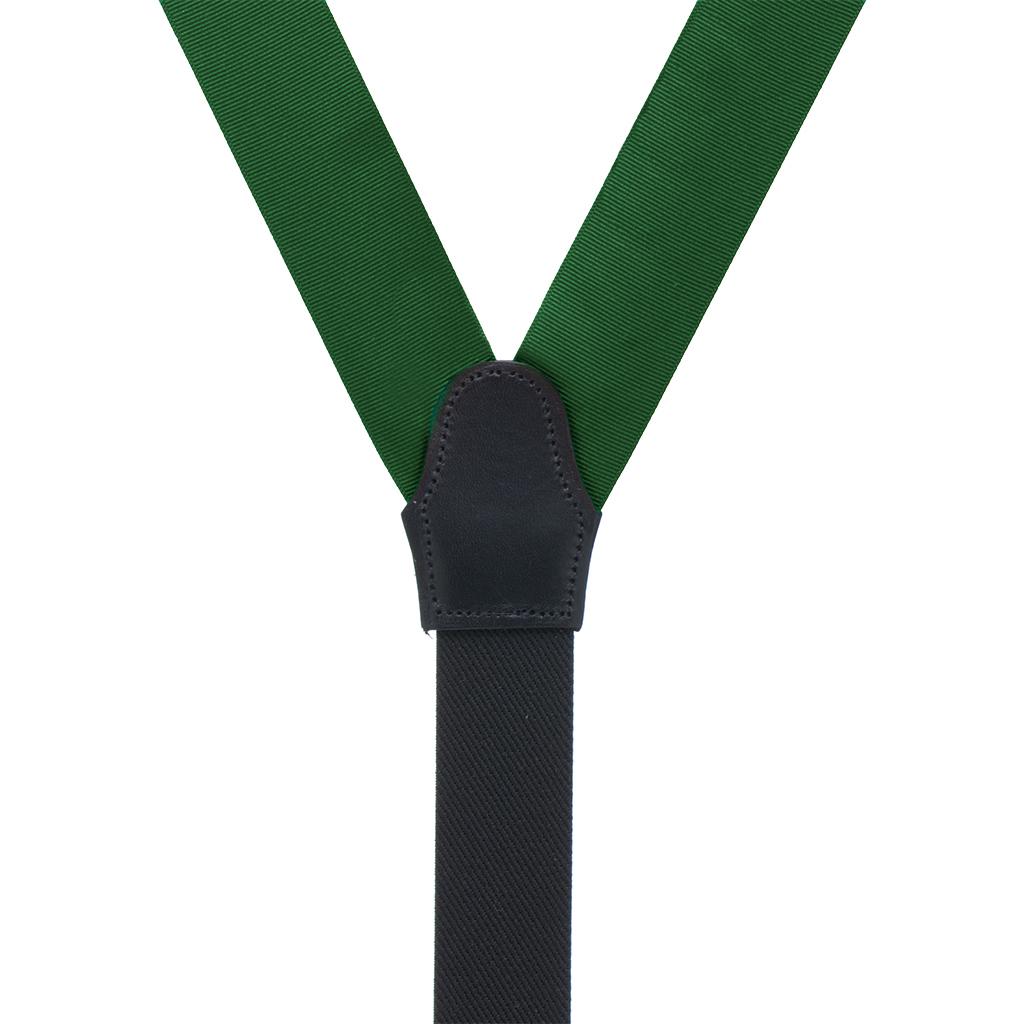 Grosgrain Suspenders in Forest Green - Rear View