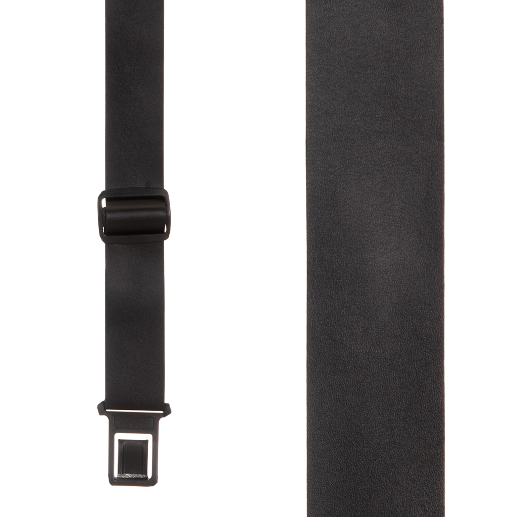 Black Leather Perry Suspenders - Front View