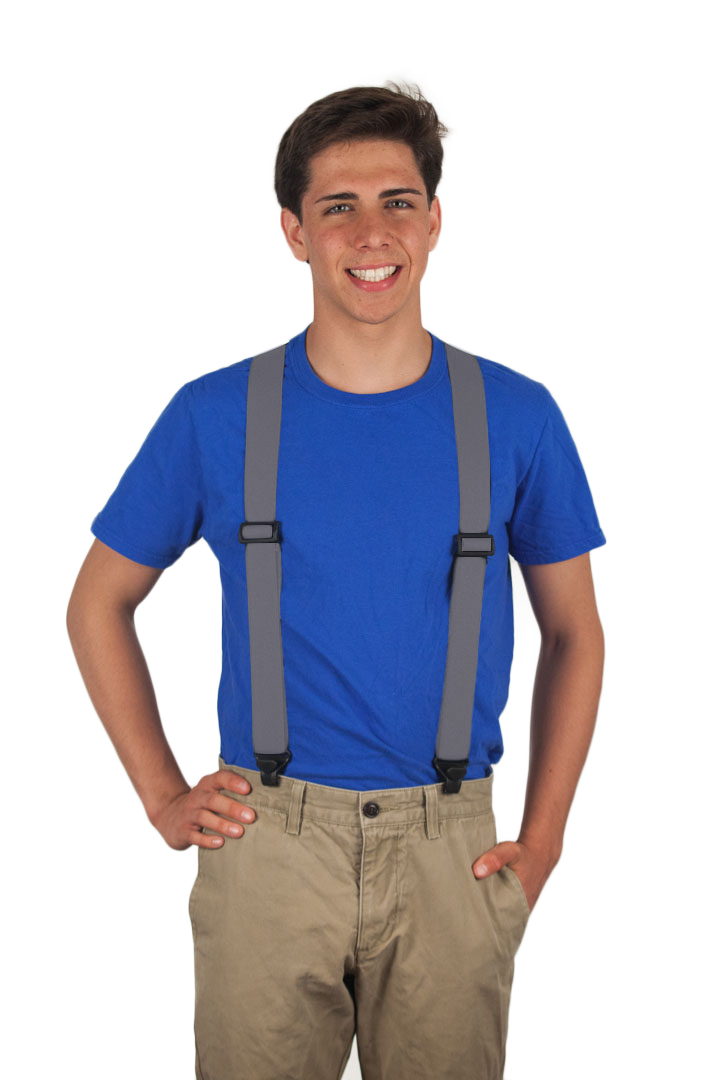 Grey Airport Friendly Suspenders - BuzzNot Clip