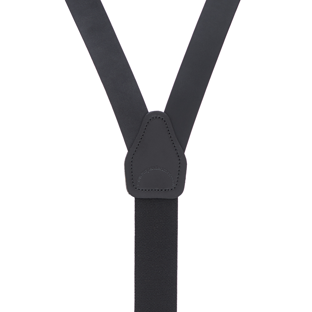 Leather Trigger Snap Suspenders in Black - Rear View