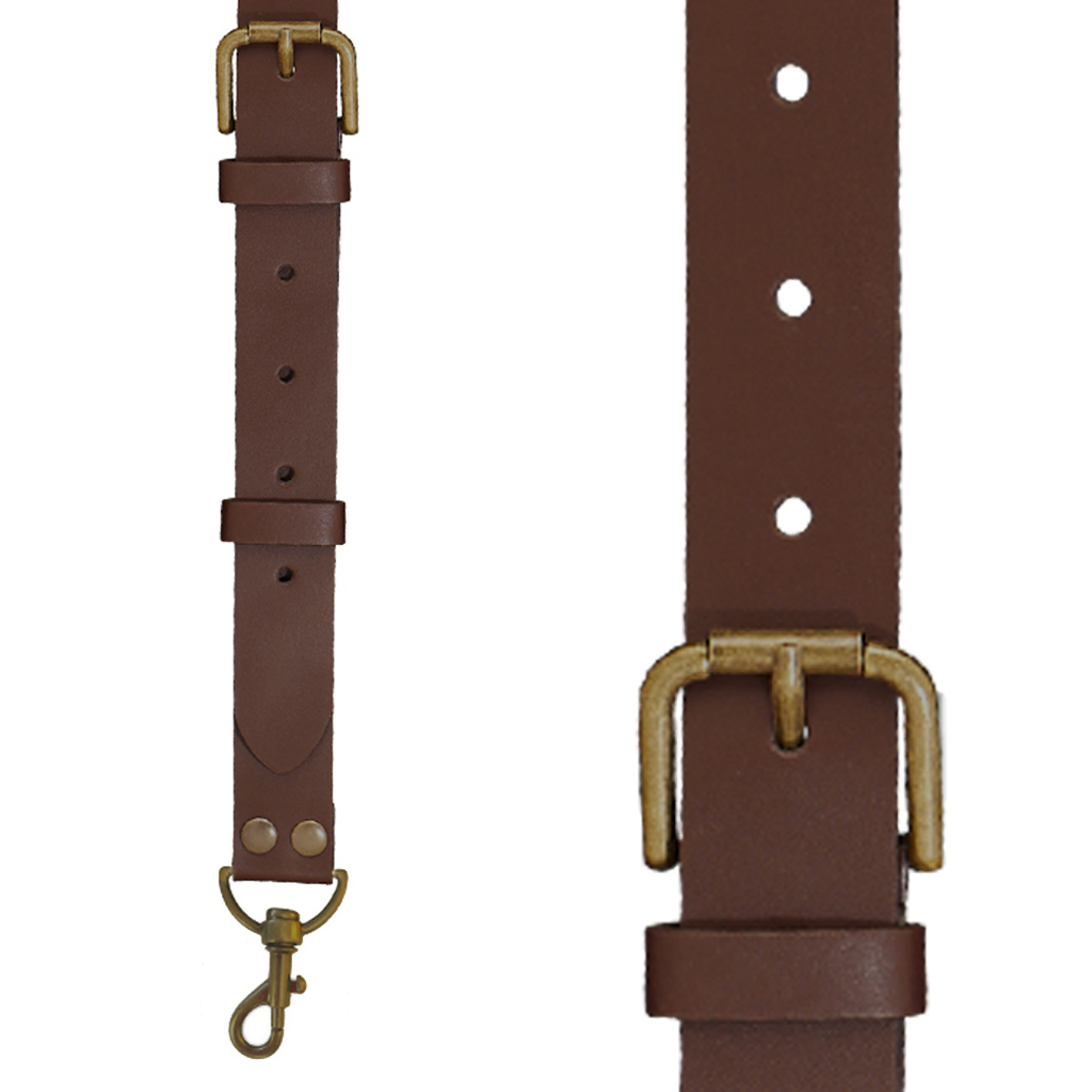 Buckle Strap Leather Trigger Snap Suspenders in Brown - Front View