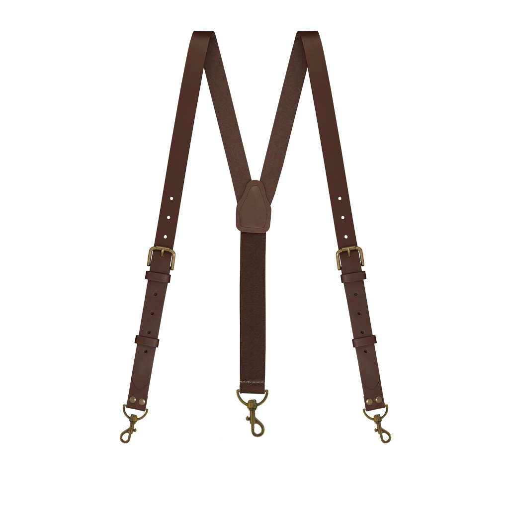 Buckle Strap Leather Trigger Snap Suspenders in Brown - Full View