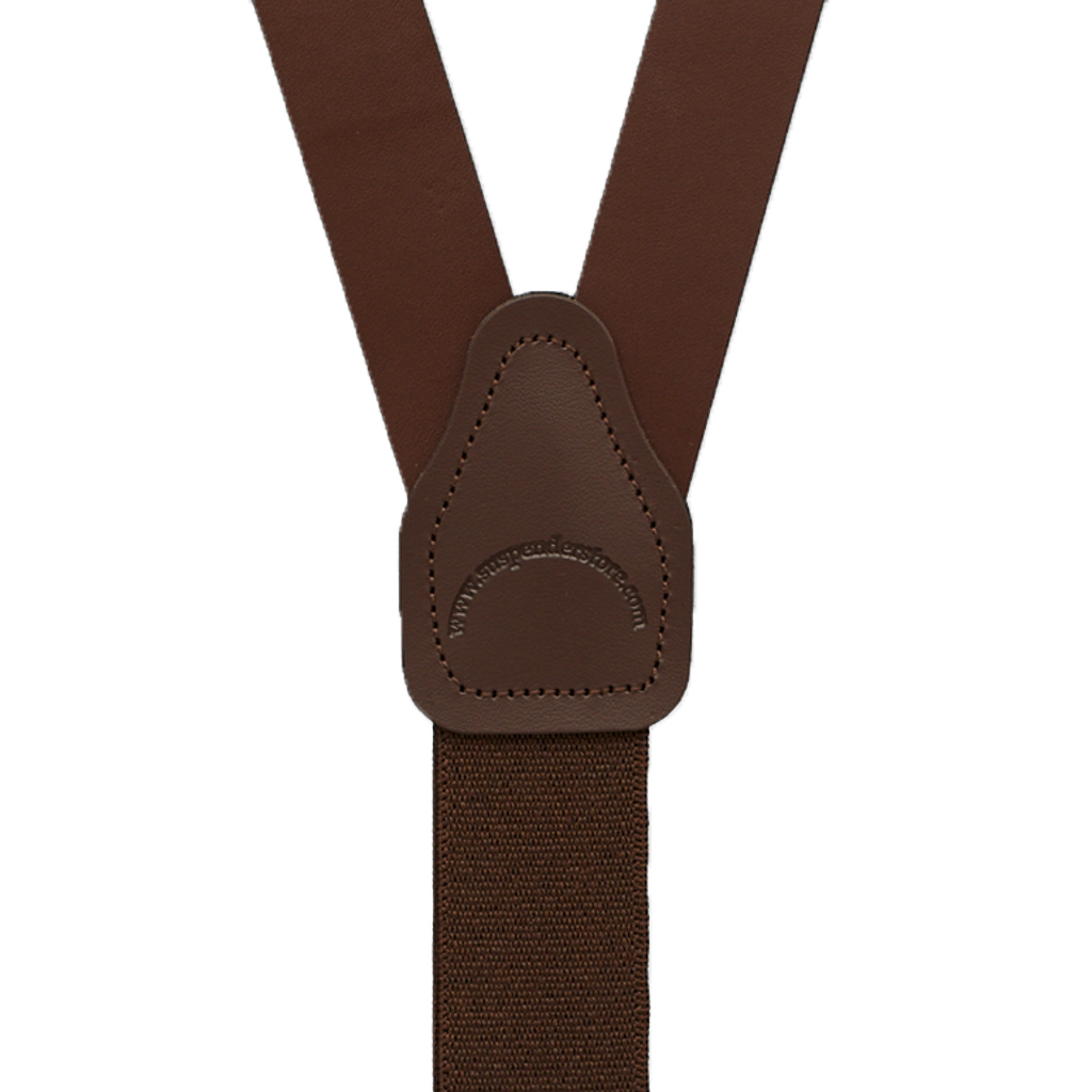 Buckle Strap Leather Trigger Snap Suspenders in Brown - Rear View