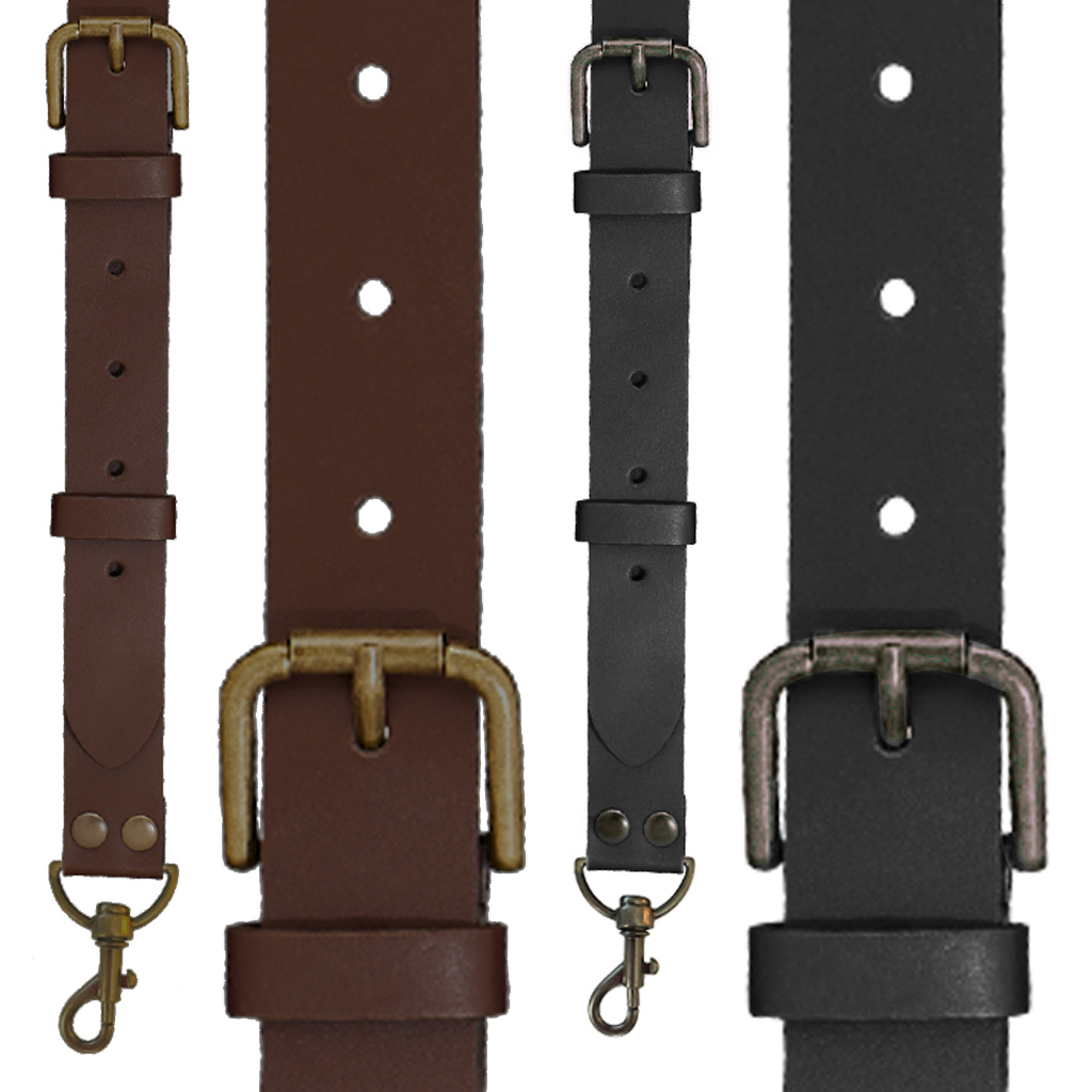 Buckle Strap 1 Inch Wide Leather Trigger Snap Suspenders - All Colors