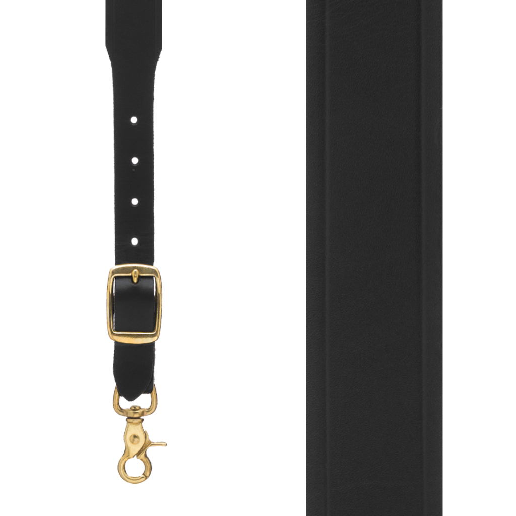 Handcrafted Western Leather Suspenders Trigger Snap in Black - Front View
