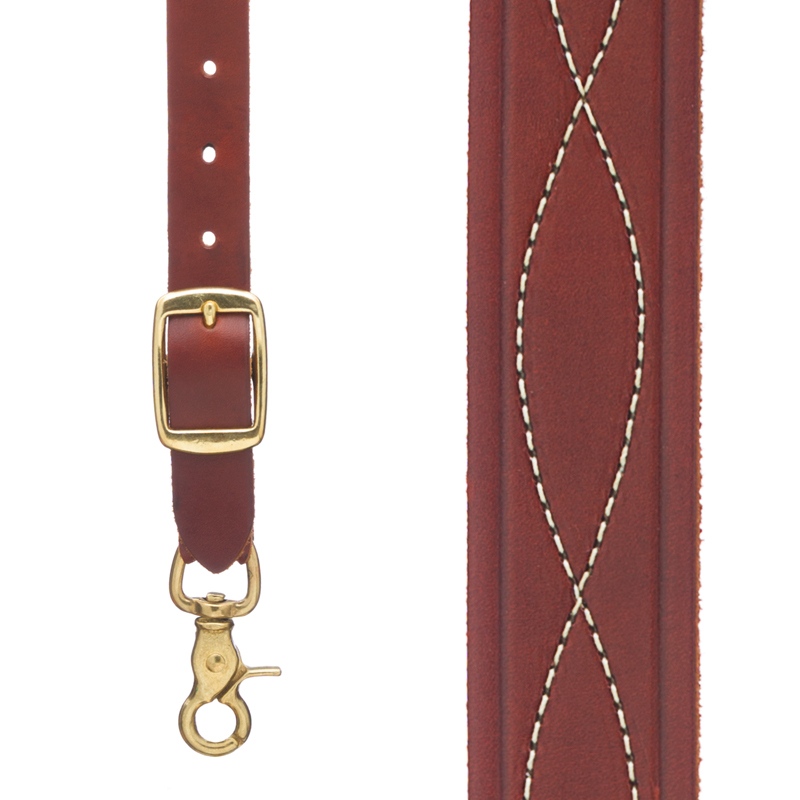 Chain Stitched Handcrafted Western Leather Suspenders in Brown - Front View