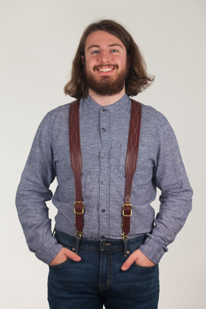 Chain Stitched Handcrafted Western Leather Suspenders
