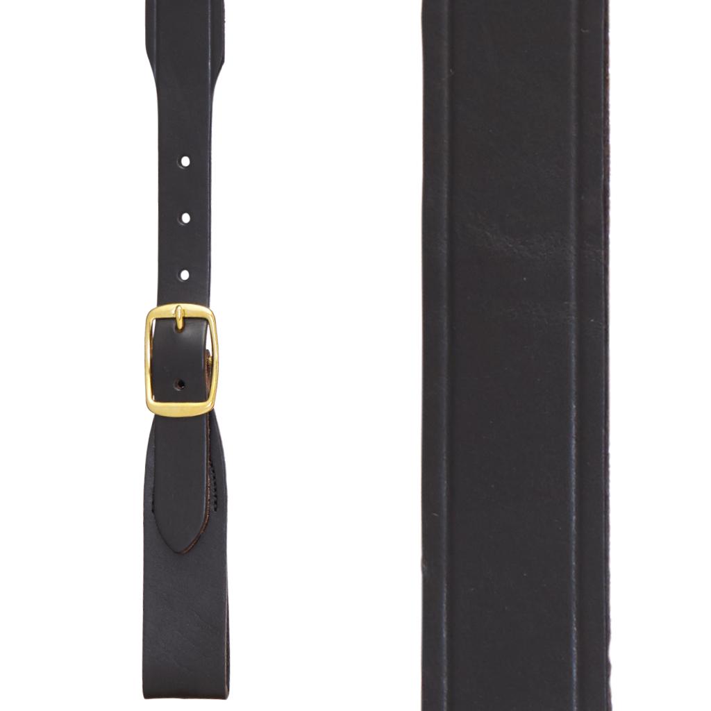 Handcrafted Western Leather Suspenders Belt Loop in Black - Front View