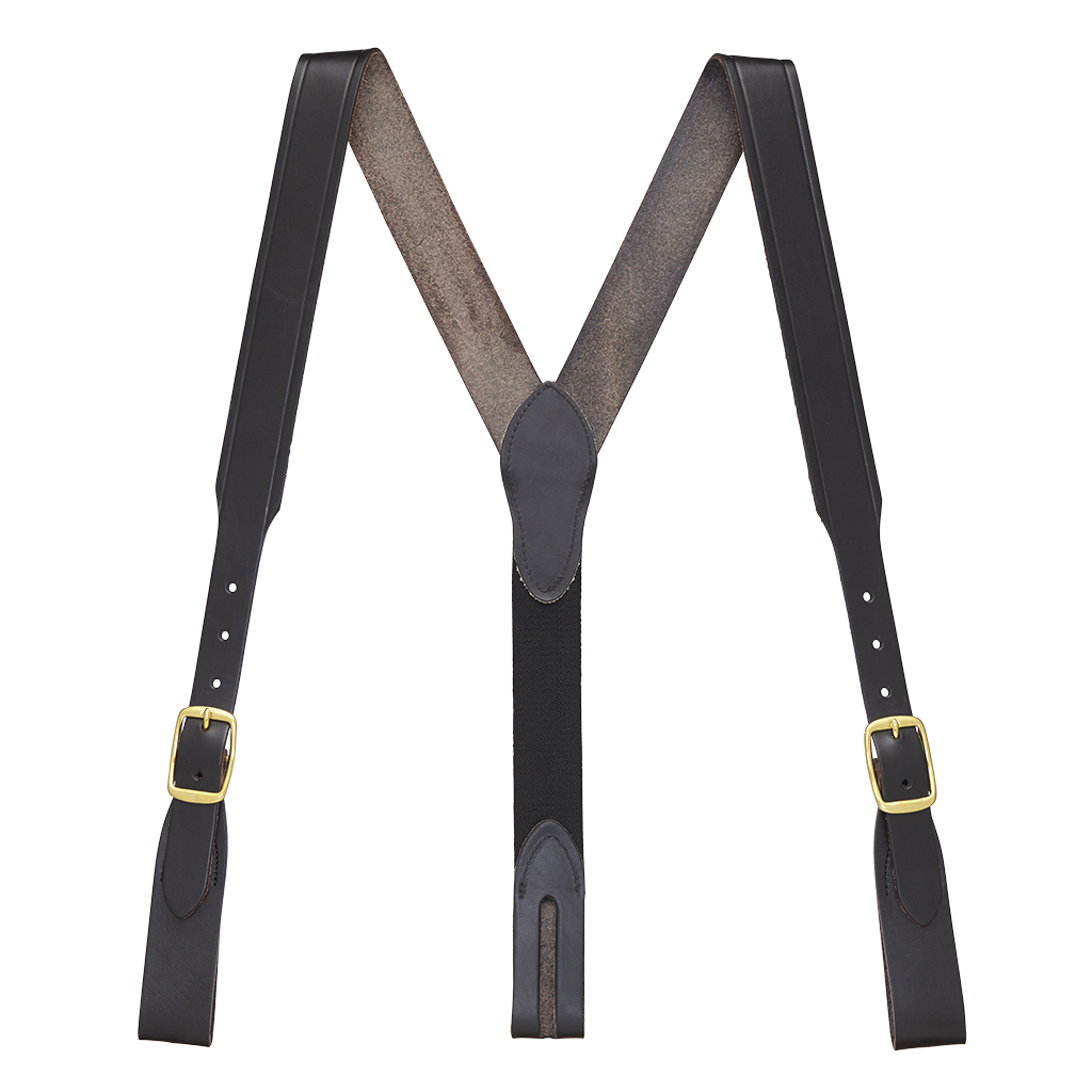 Handcrafted Western Leather Suspenders Belt Loop in Black - Full View