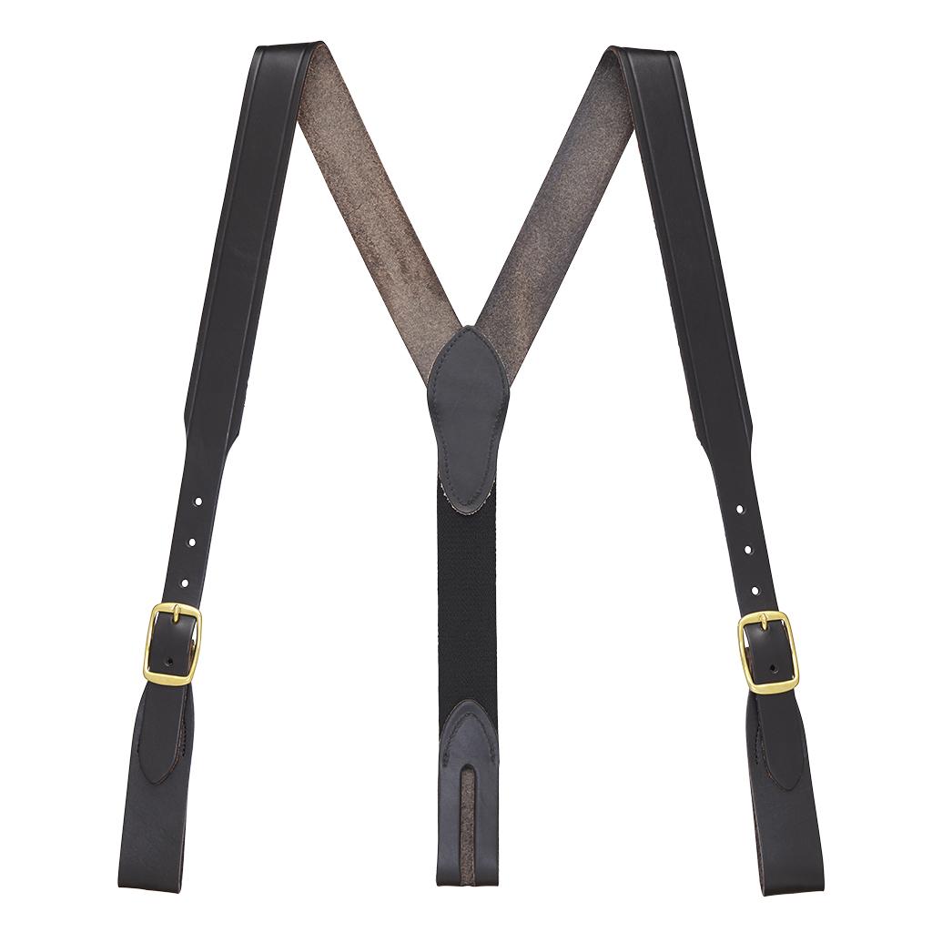 Handcrafted Western Leather Suspenders Belt Loop in Black - Full View