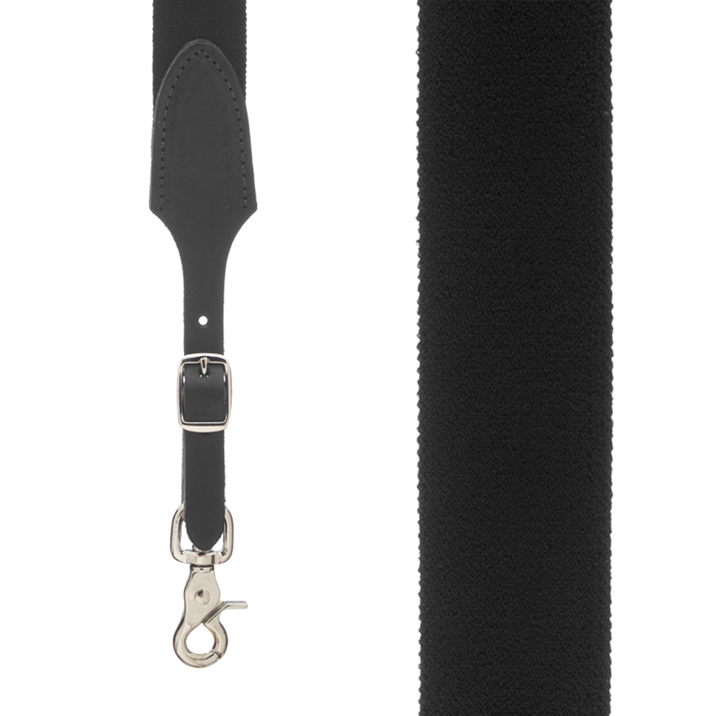 Rugged Comfort Suspenders Trigger Snap in Black - Front View