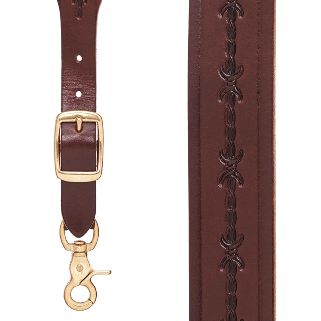 Barbed Wire Western Leather Suspenders in Brown - Front View