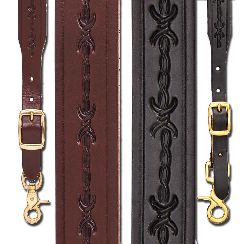 Barbed Wire 1-Inch Wide Western Leather Suspenders - All Colors
