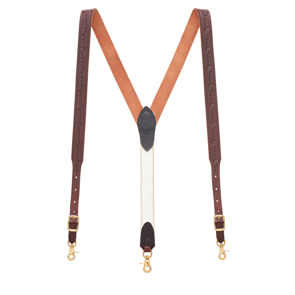 Barbed Wire Western Leather Suspenders in Brown - Full View