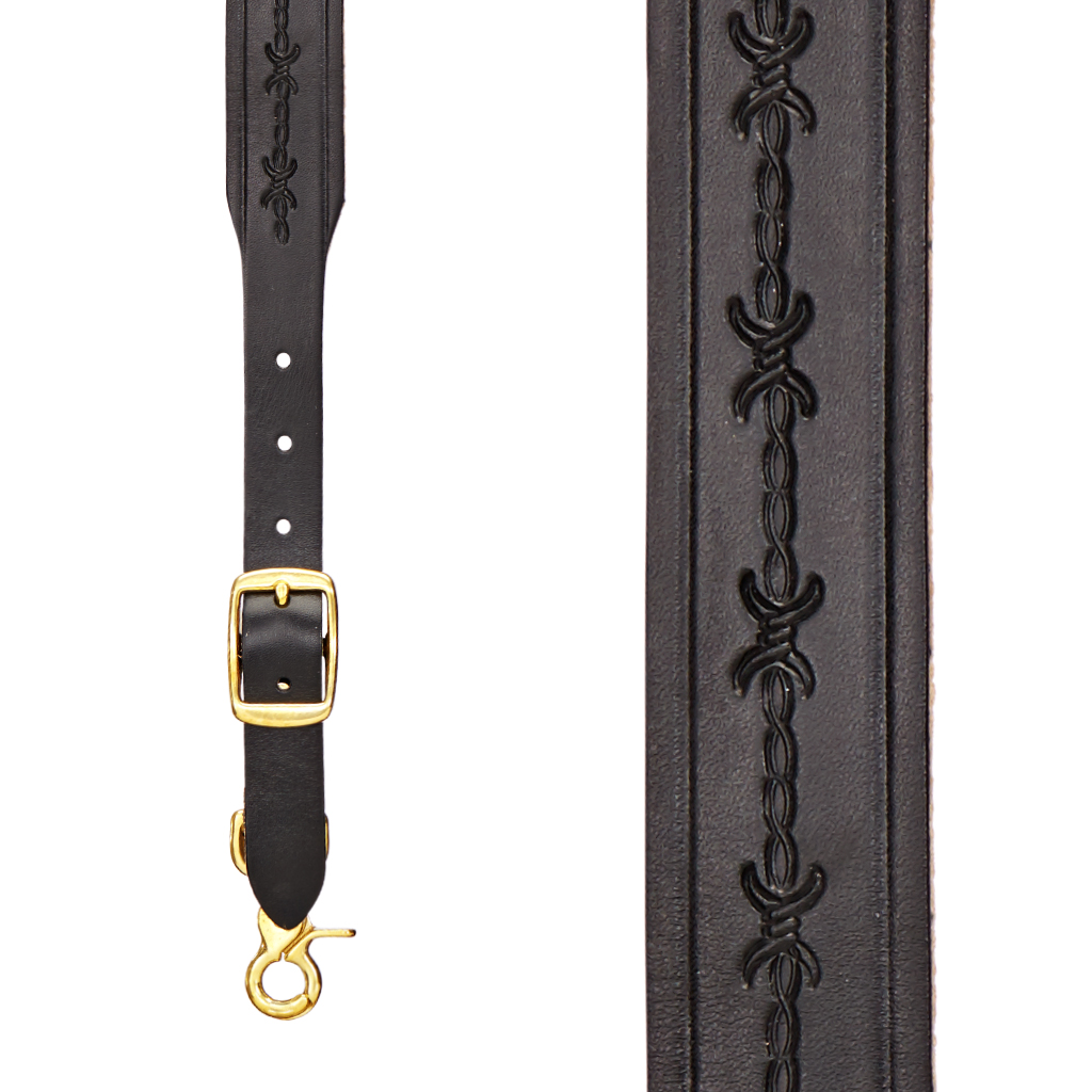 Barbed Wire Western Leather Suspenders in Black - Front View