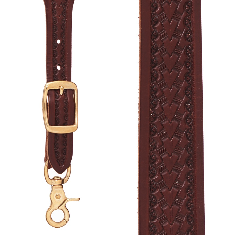Basket Stamped Western Leather Suspenders in Brown - Front View