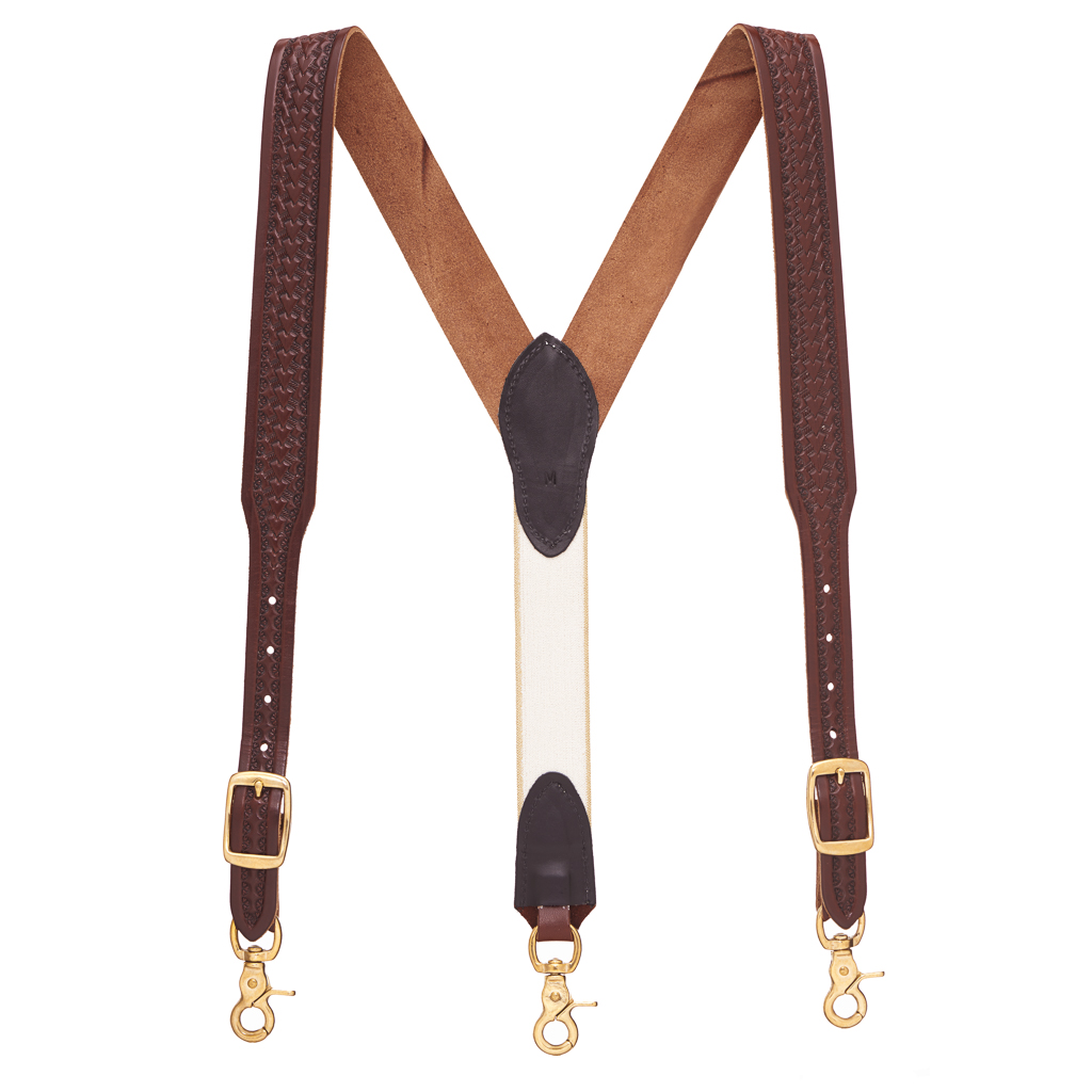 Basket Stamped Western Leather Suspenders in Brown - Full View
