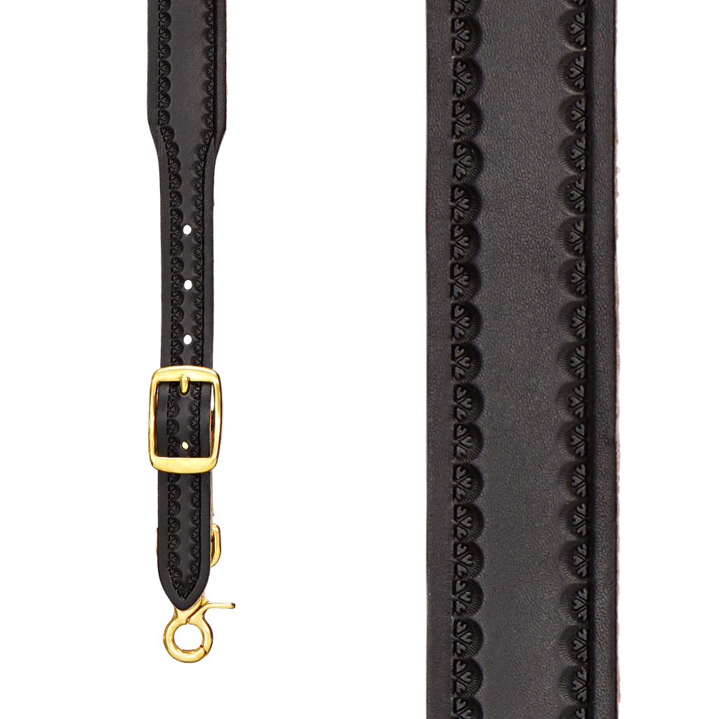 Border Stamped Western Leather Suspenders in Black - Front View