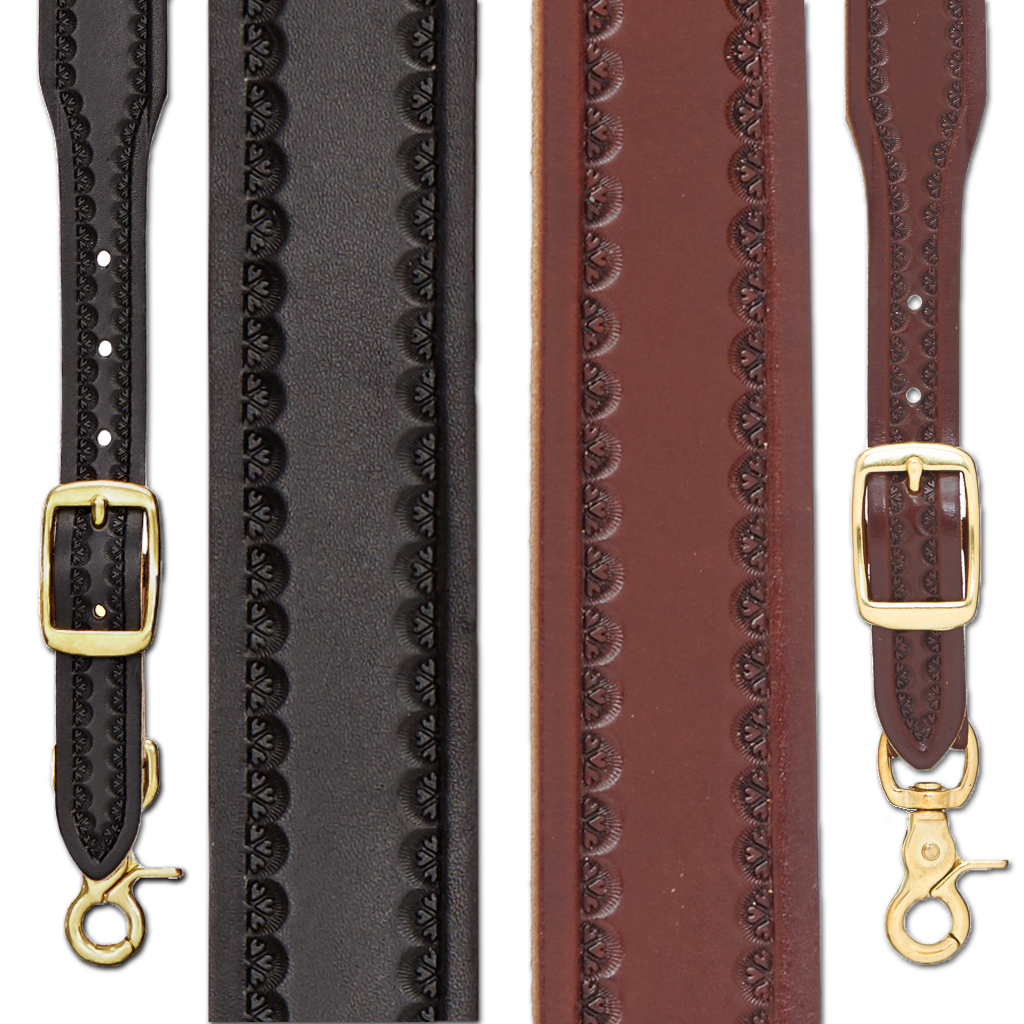 Border Stamped 1.5 Inch Wide Western Leather Suspenders - All Colors