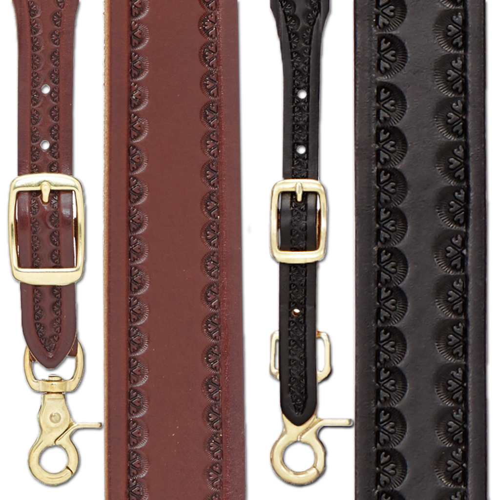 Border Stamped 1 Inch Wide Western Leather Suspenders - All Colors