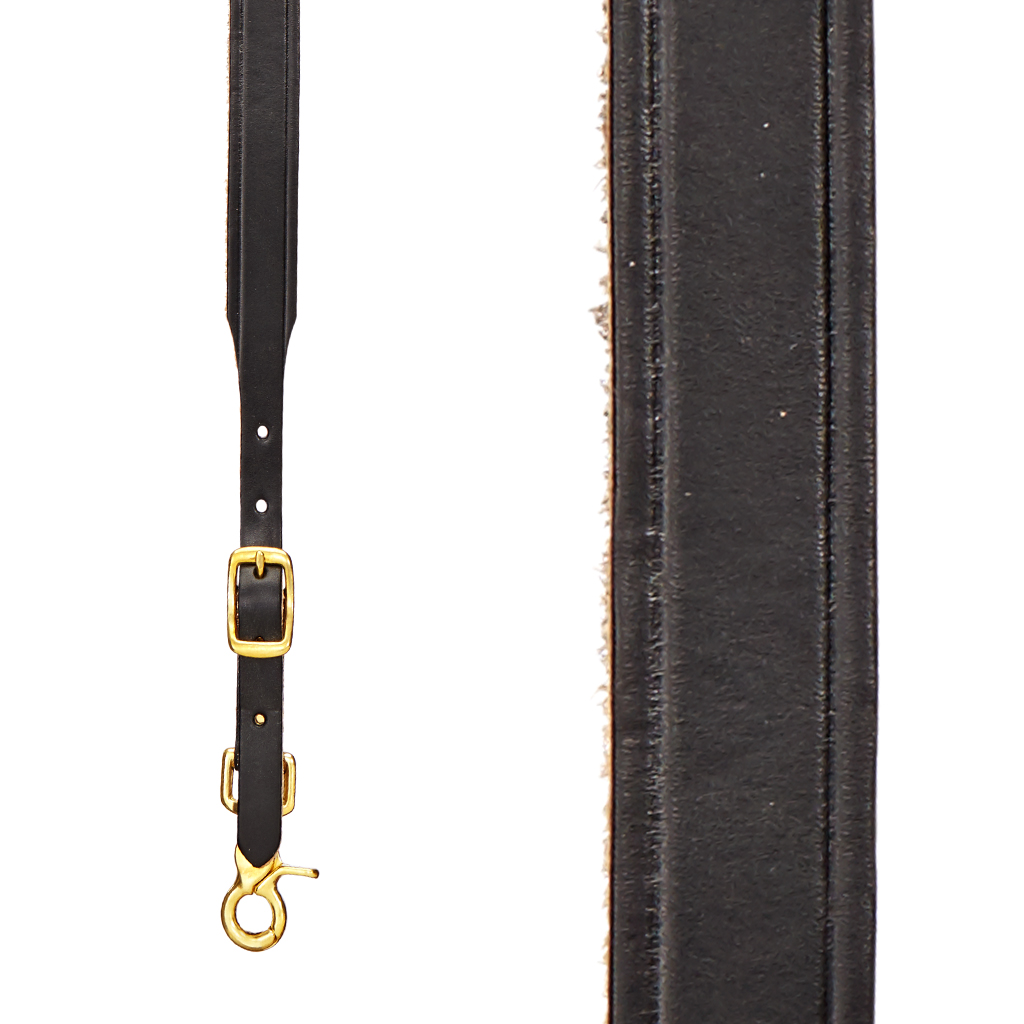Plain Tooled Western Leather Suspenders in Black - Front View