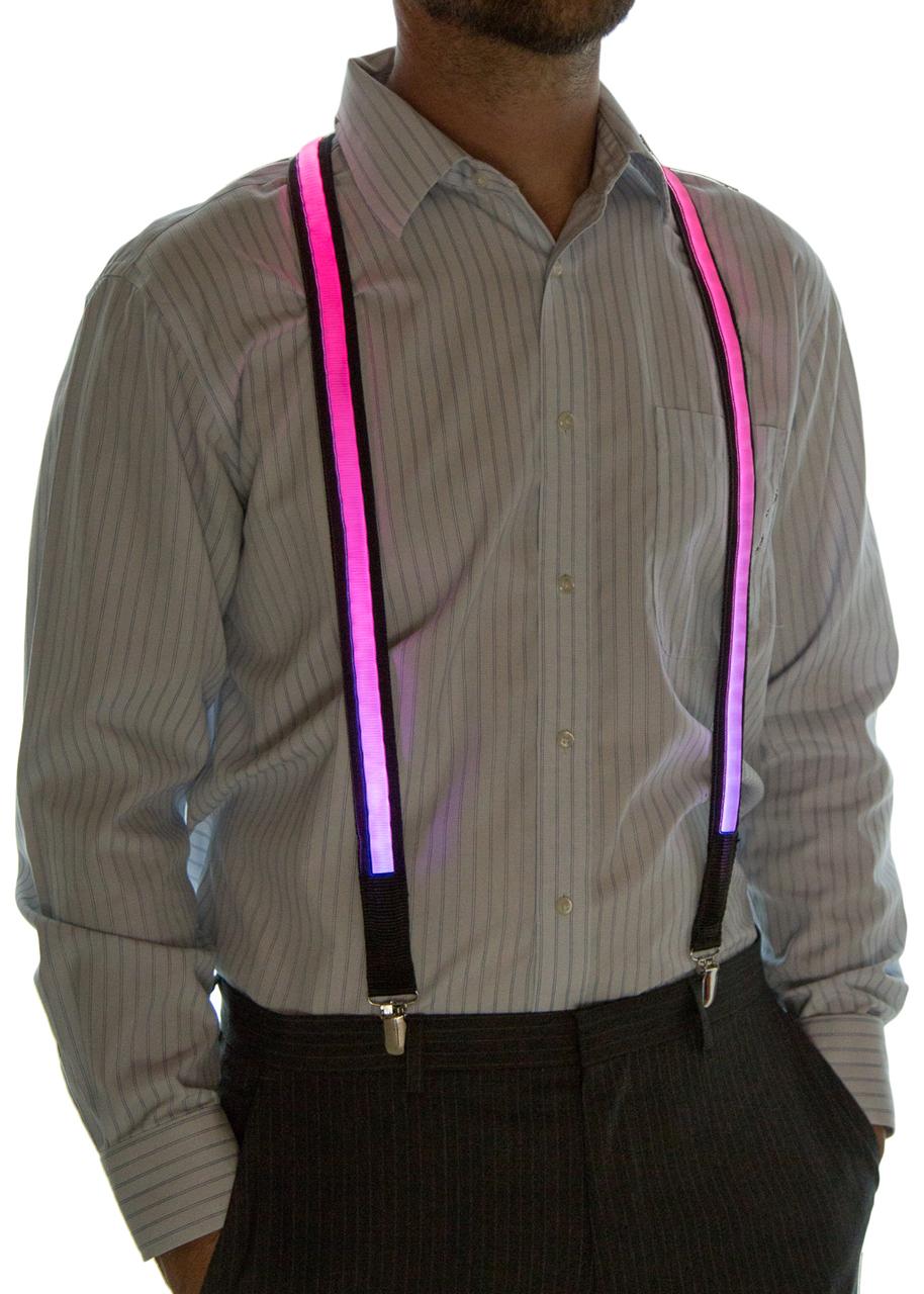 Model wearing suspenders set to Pink