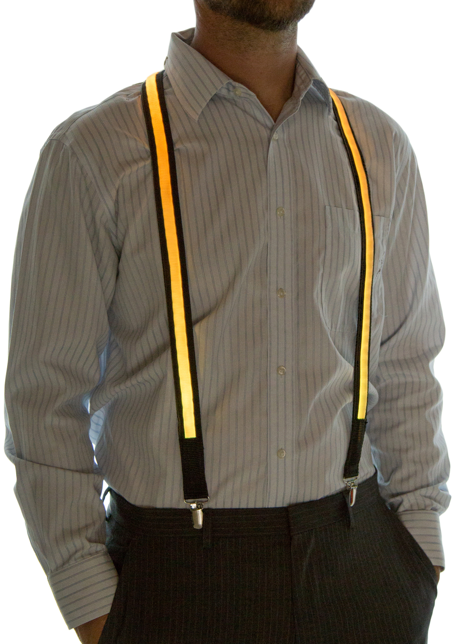 Model wearing suspenders set to Yellow
