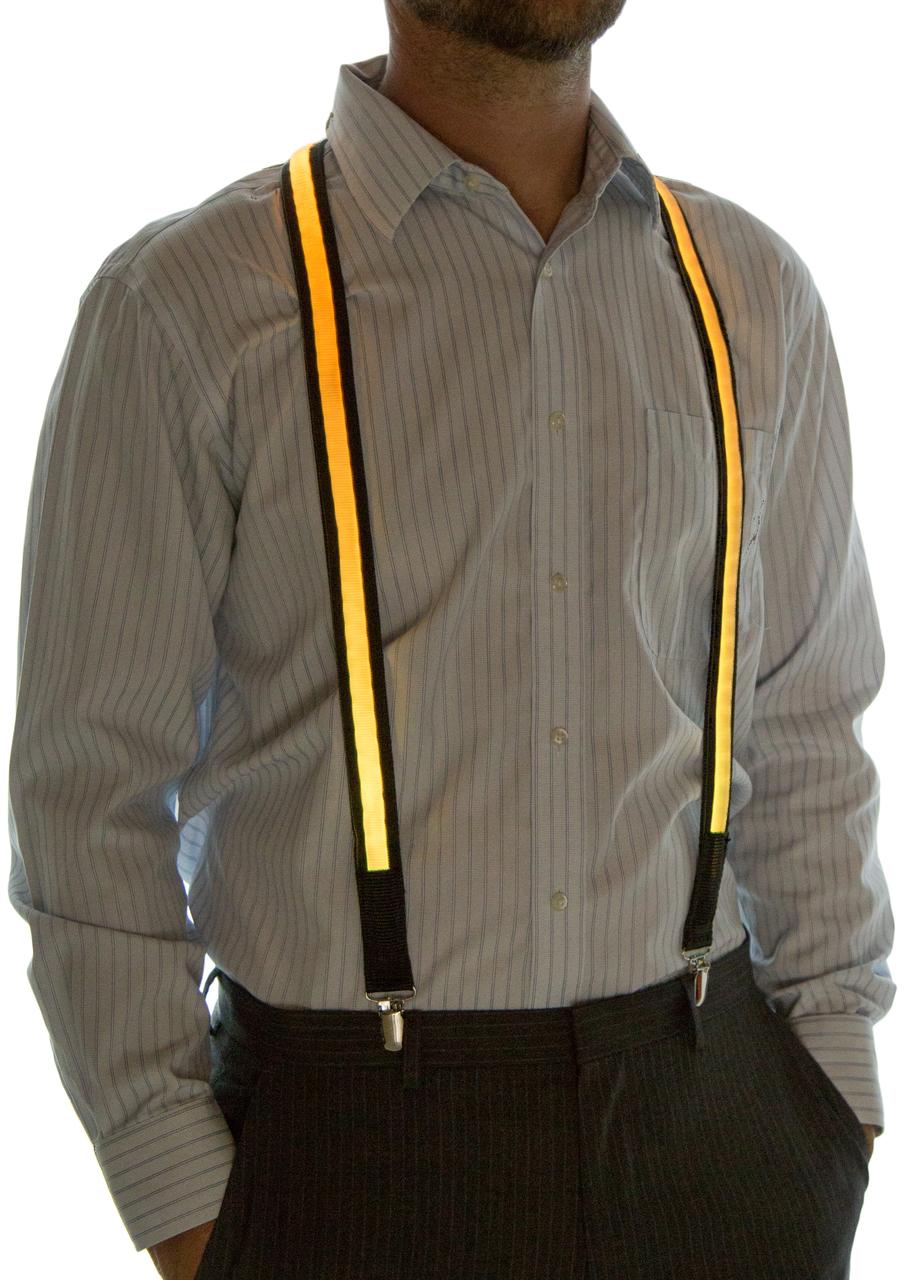 Model wearing suspenders set to Yellow