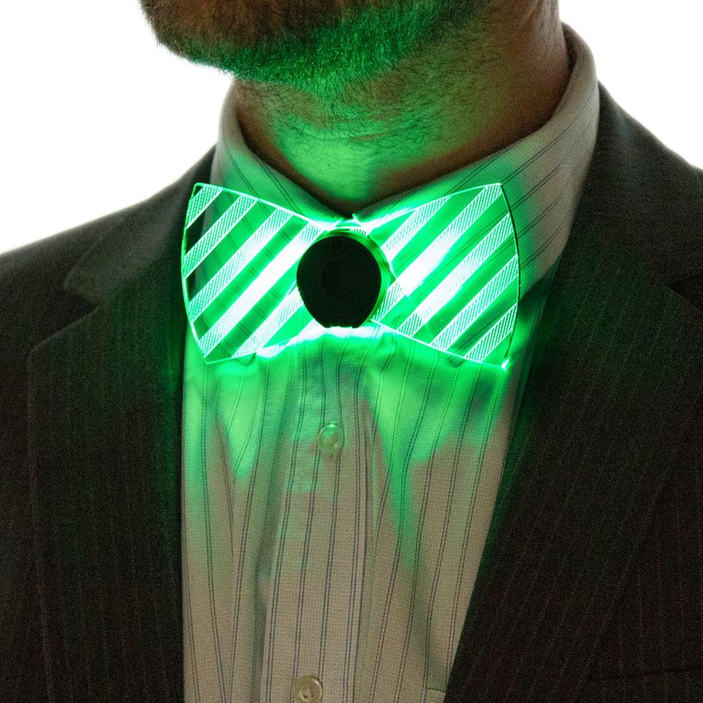 Model Wearing Neon Light Up Bow Tie Front View Green
