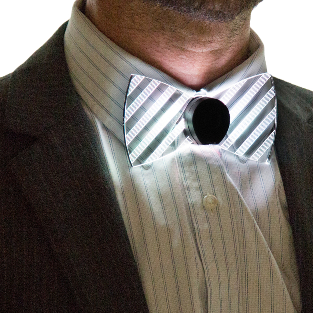 Model Wearing Neon Light Up Bow Tie Front View White