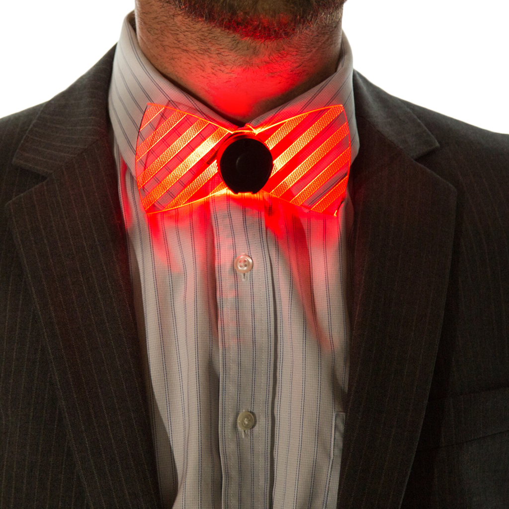 Model Wearing Neon Light Up Bow Tie Red Front View