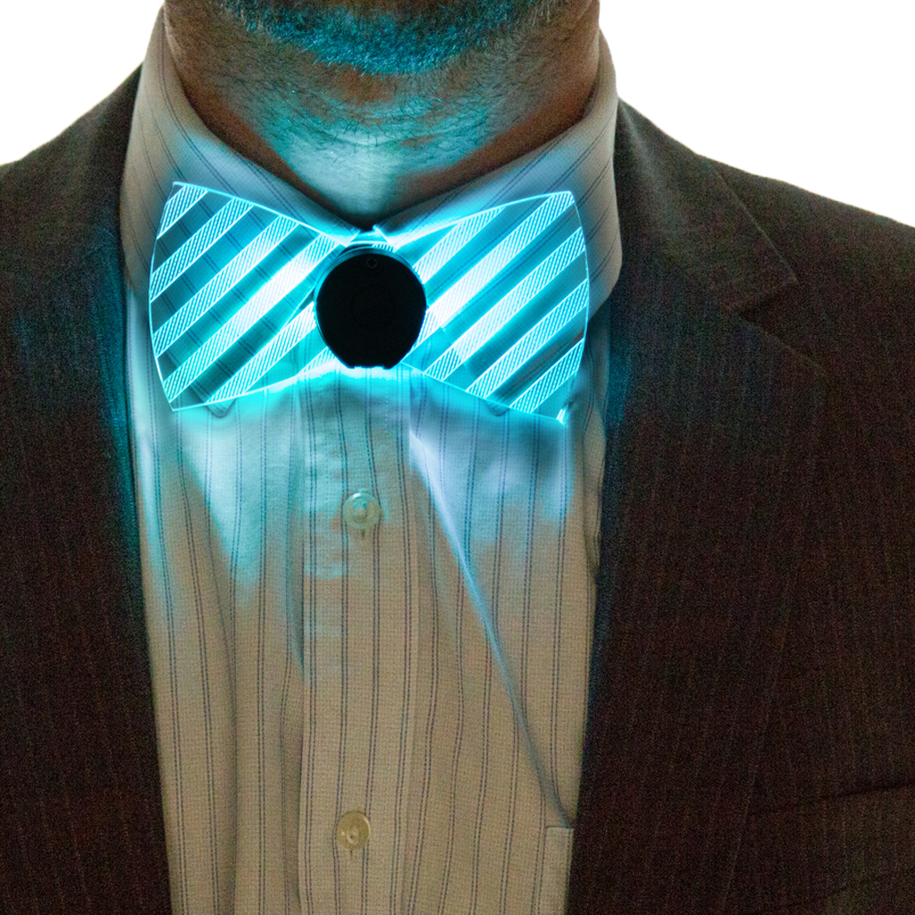 Model Wearing Neon Light Up Bow Tie Light Blue Front View