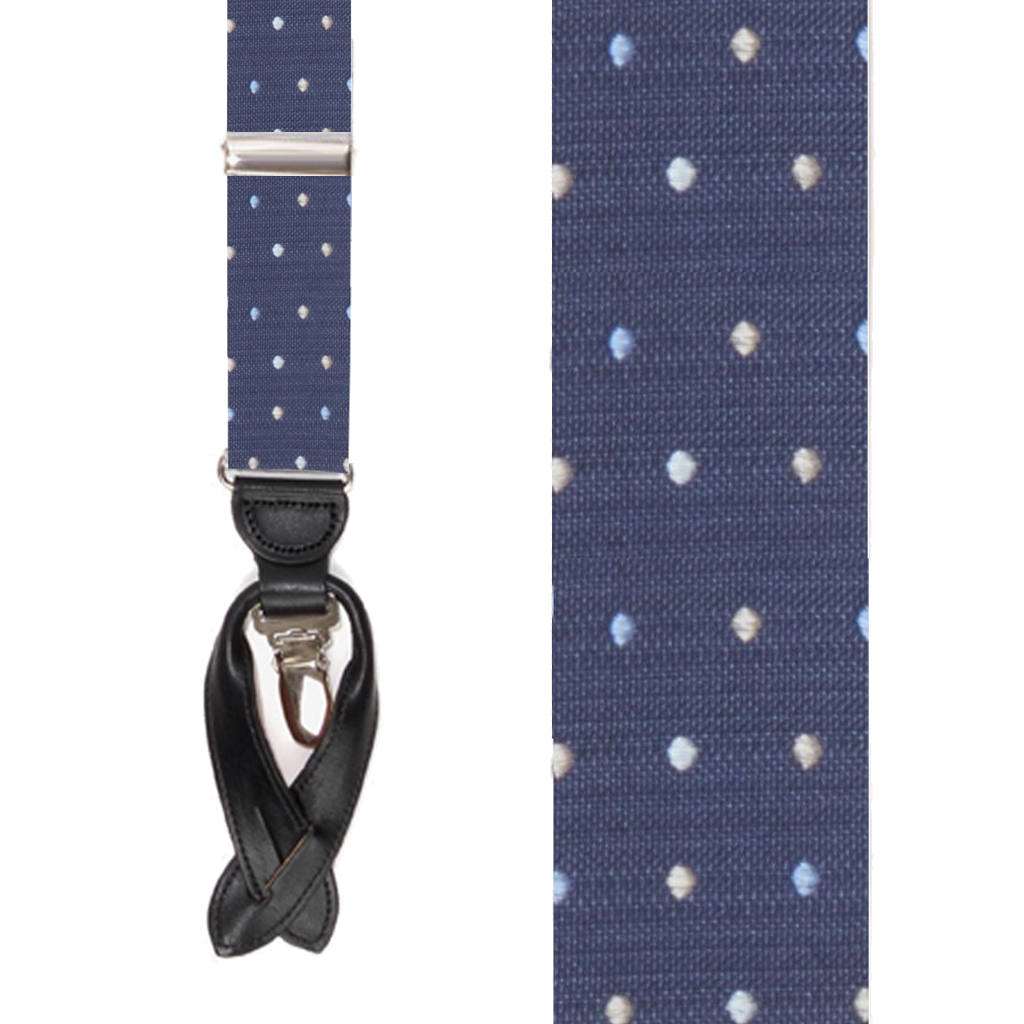 Silk Polka Dot Convertible Suspenders in Navy Blue - Front View