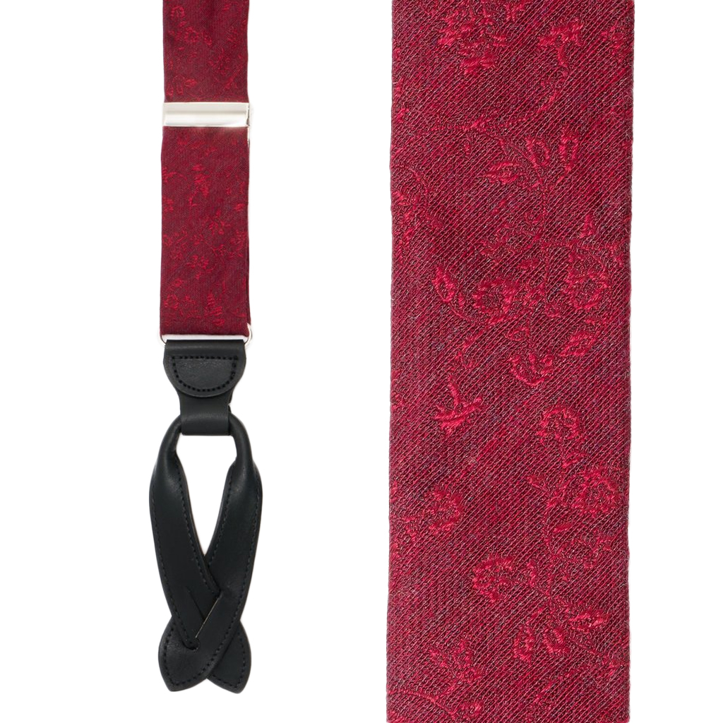 Floral Silk Suspenders in Red - Front View