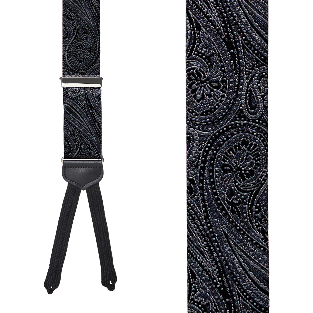 Black Formal Paisley Silk Suspenders - Front View