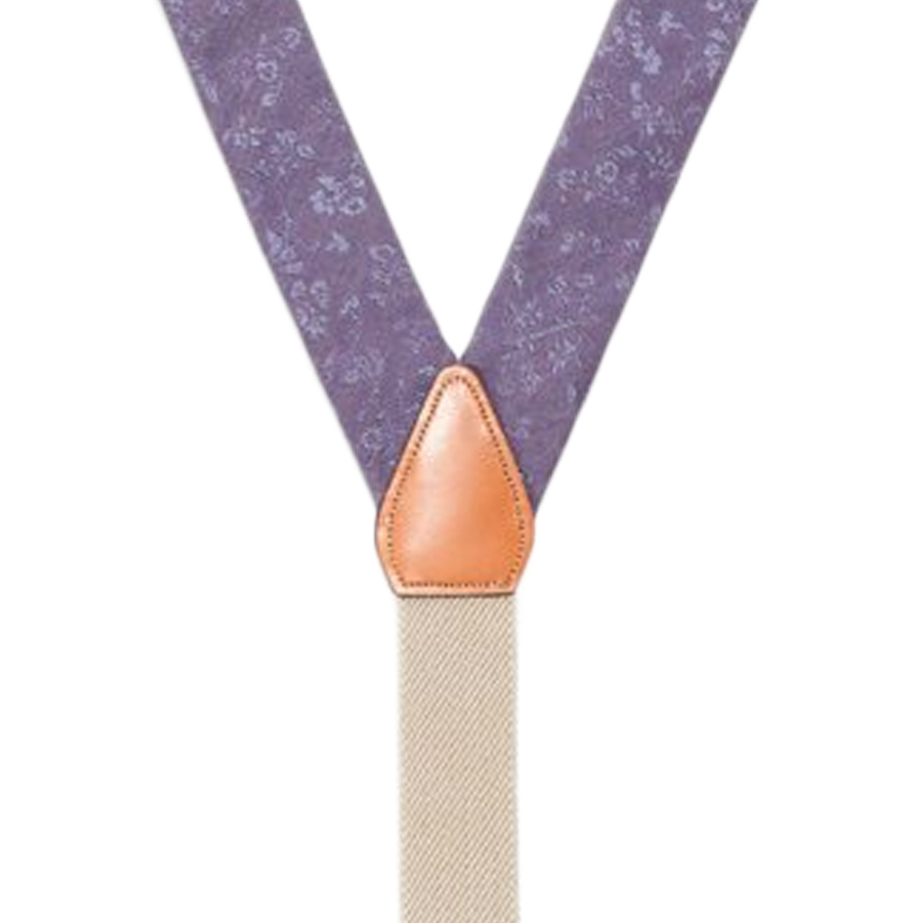 Silk Floral Suspenders in Purple - Rear View