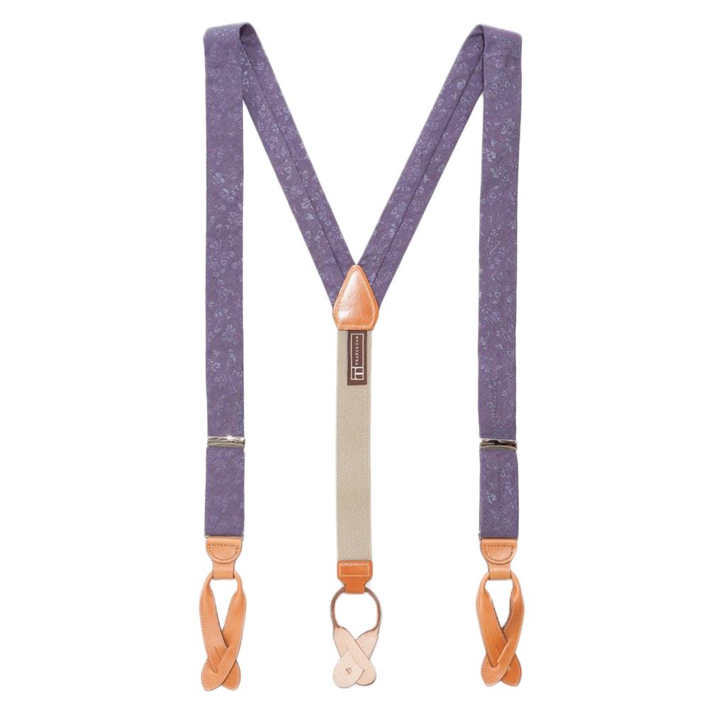 Silk Floral Suspenders in Purple - Full View