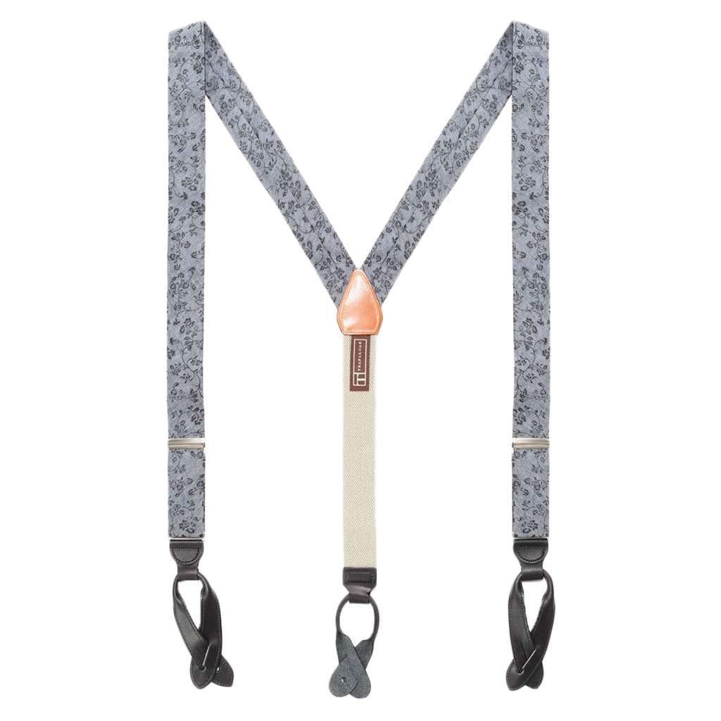 Grey Floral Silk Suspenders - Button Full View