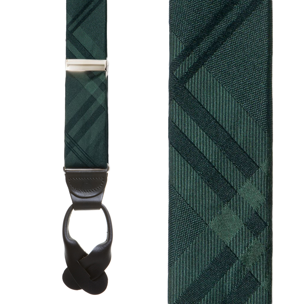 Plaid Silk Suspenders in Green - Front View
