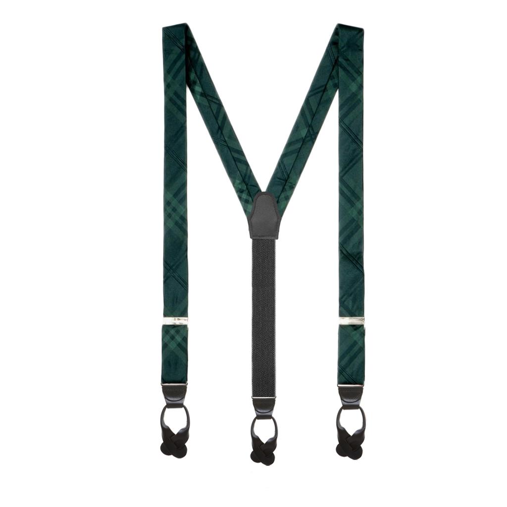 Plaid Silk Suspenders in Green - Full View