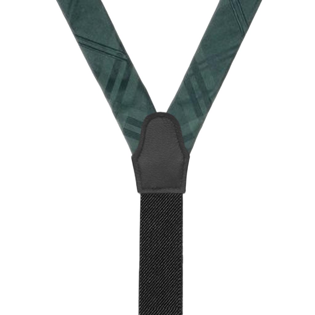 Plaid Silk Suspenders in Green - Rear View