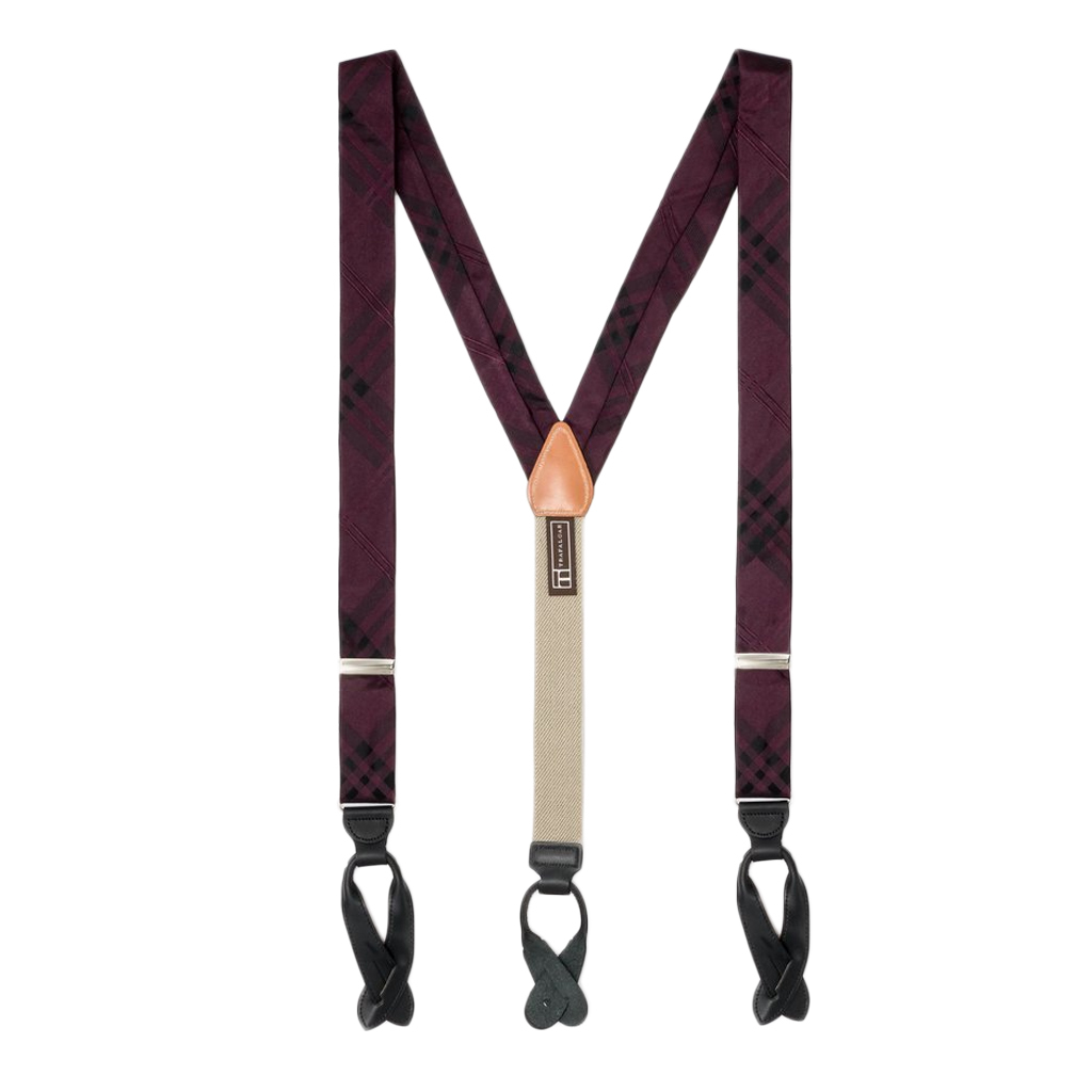 Silk Plaid Suspenders in Purple - Full View