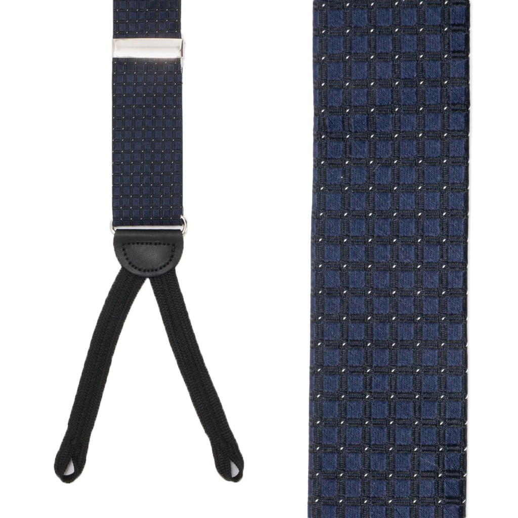 NAVY Andora Check Silk Suspenders - Runner End Front View