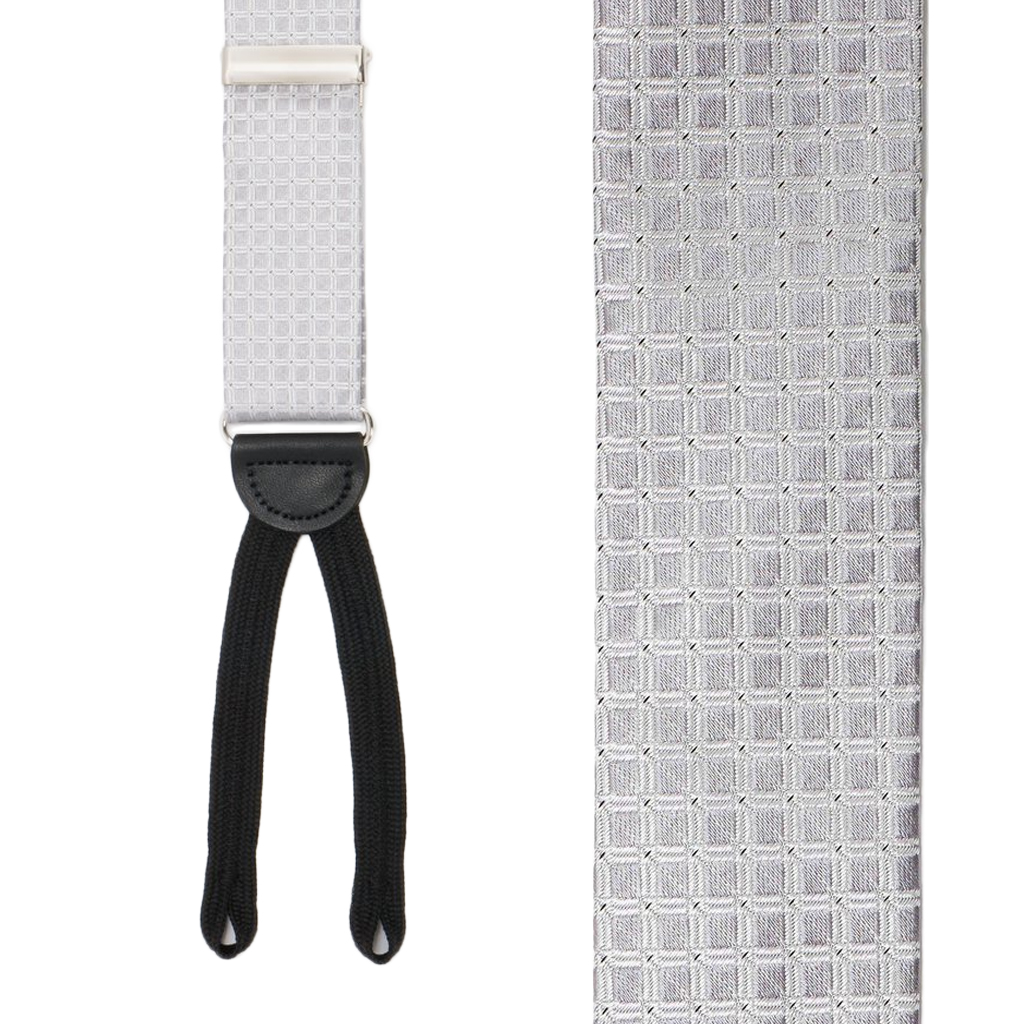 SILVER Andora Check Silk Suspenders - Runner End - Front View