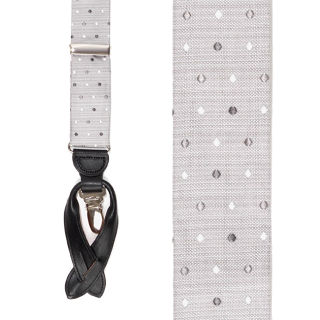 Silk Polka Dot Suspenders - Front View