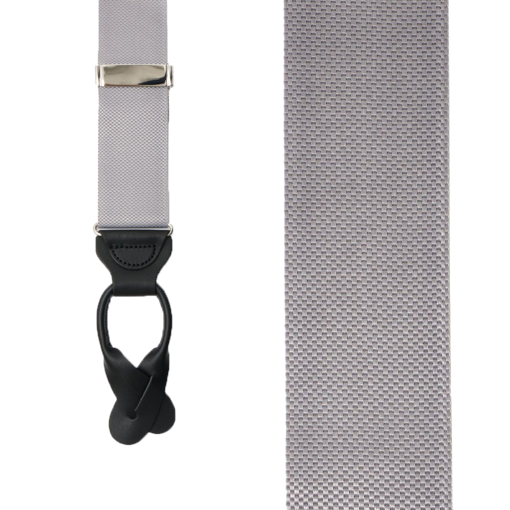 Silver Oxford Cloth Suspenders - Button - Front View