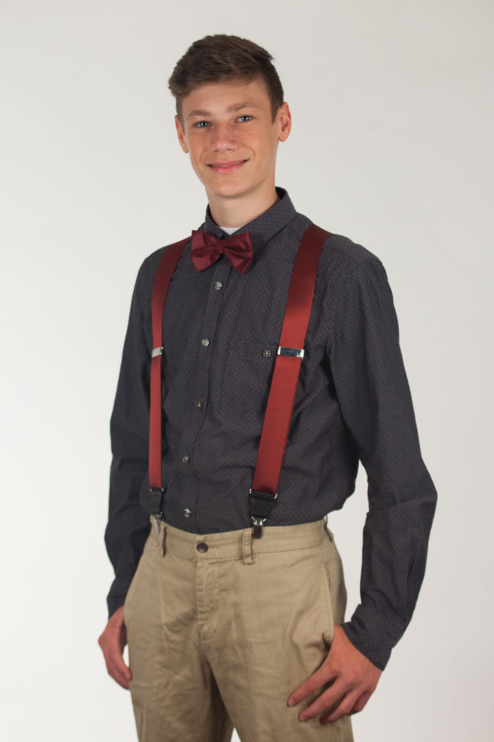 SALE - LIGHT BURGUNDY Bangkok Silk Suspenders - Clip